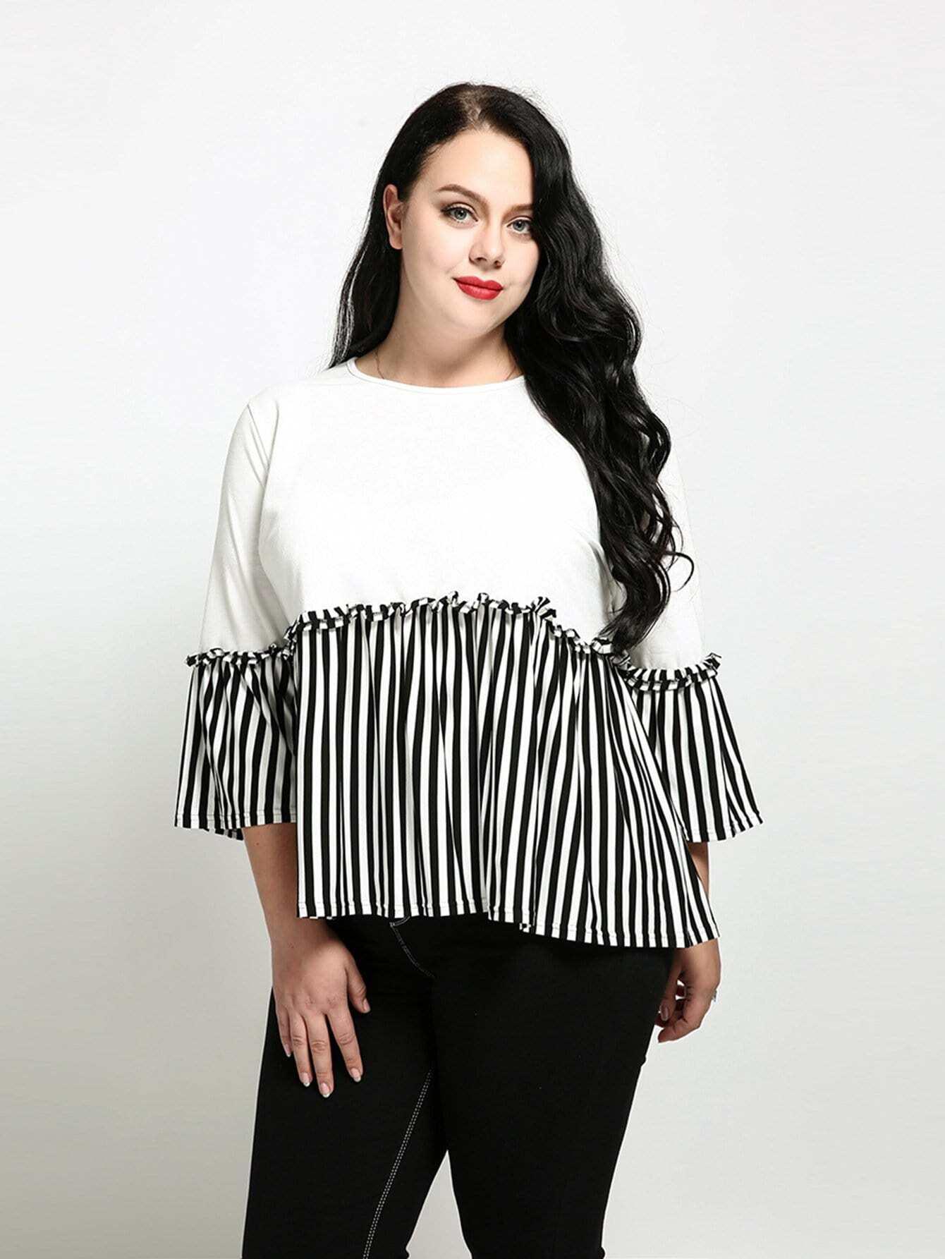 Stripe Contrast Ruffle Hem Top stripe contrast ruffle hem hooded dress