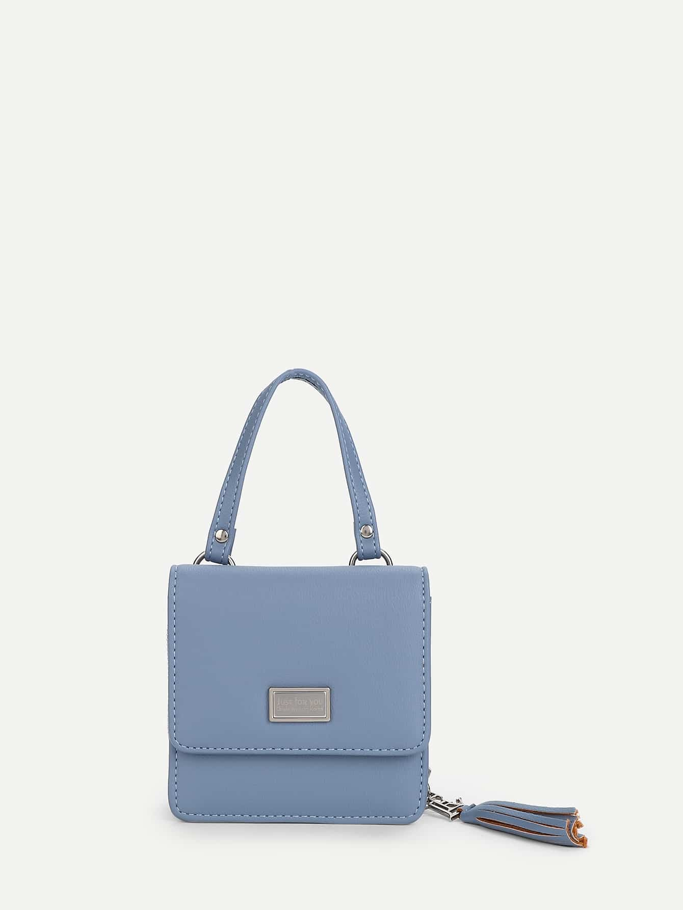Tassel Detail PU Bag With Convertible Strap studded decorated pu bag with convertible strap
