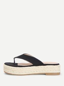 Toe Post Suede Flatform Sandals