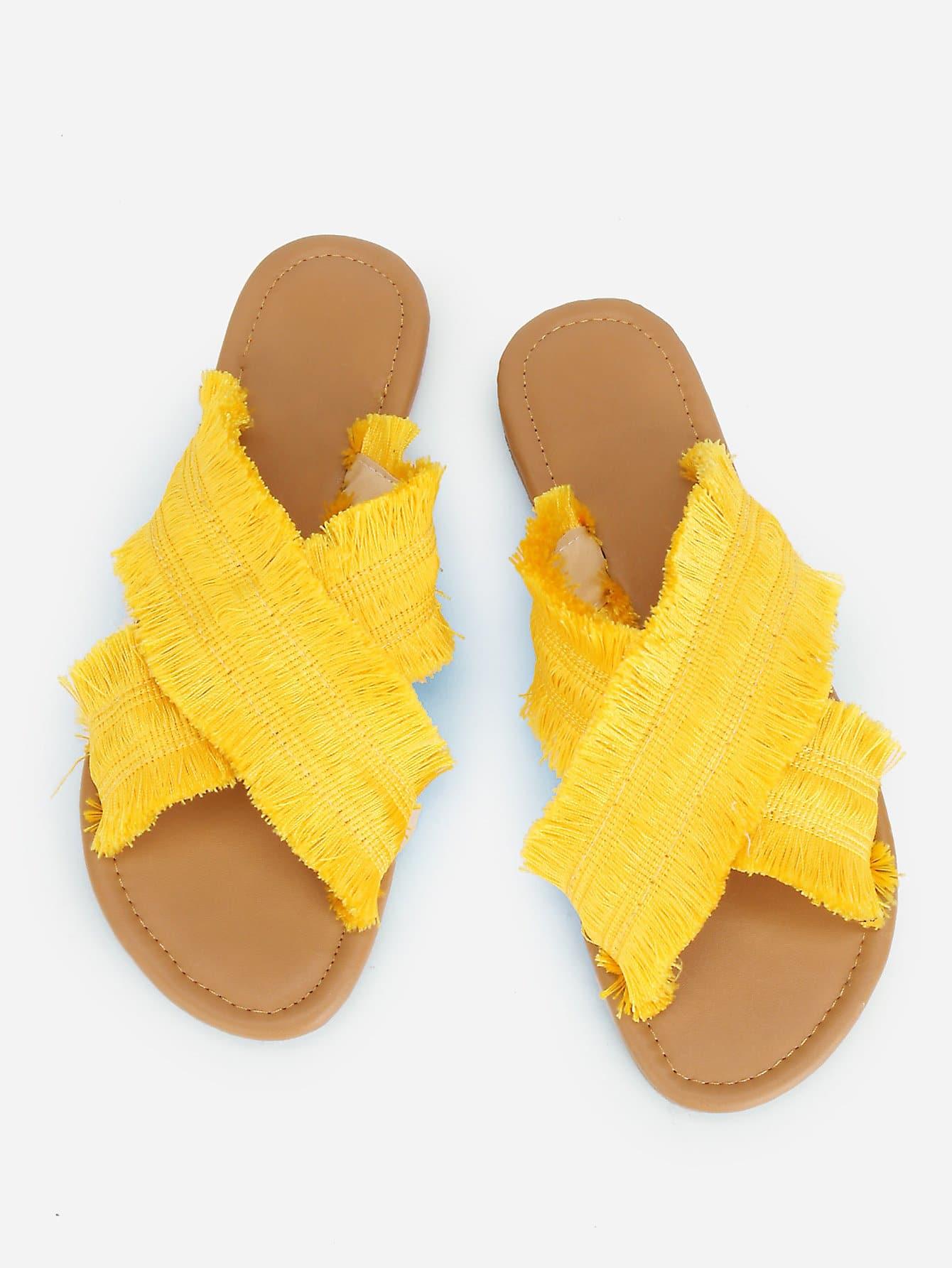 Raw Trim Criss Cross Flat Sandals цена