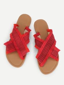 Raw Trim Criss Cross Flat Sandals