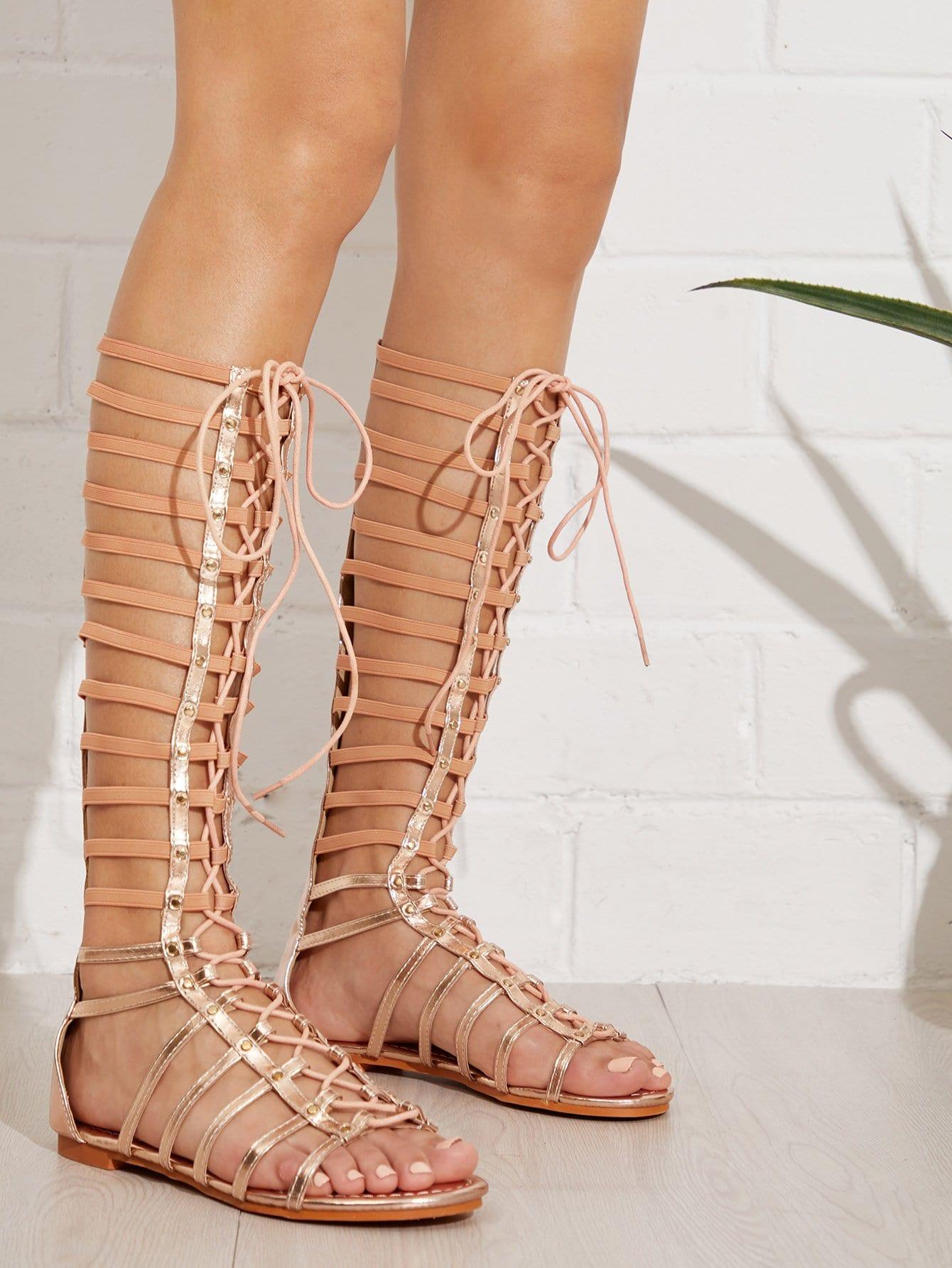 Купить Зашнуруйте передние плоские сандалии в клетке, null, SheIn