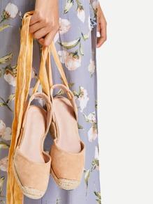 Tie Leg Velvet Cap Toe Wedges
