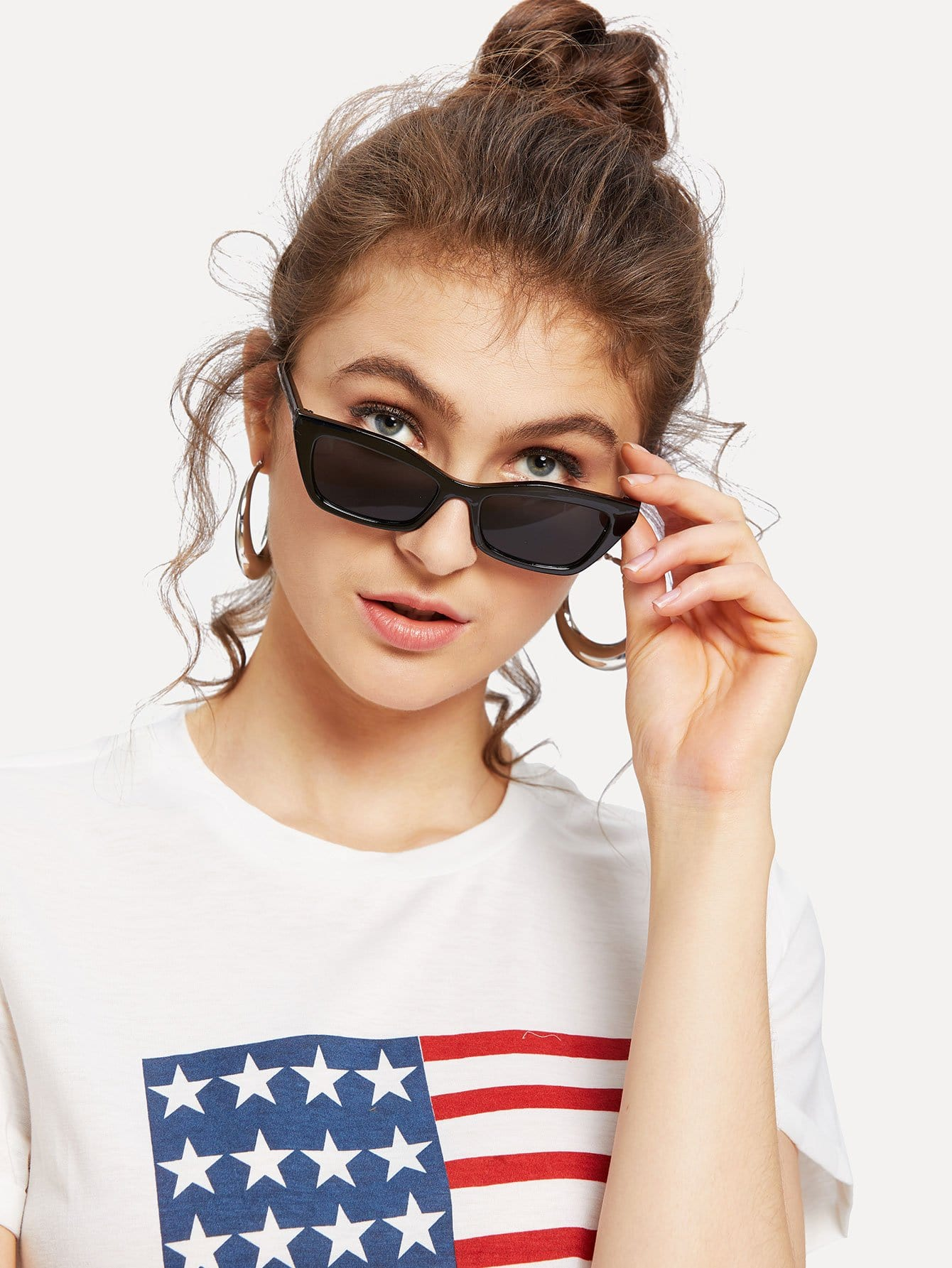 Купить Обычные солнцезащитные очки с плоскими объективами, null, SheIn