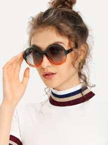 Two Tone Frame Round Lens Sunglasses