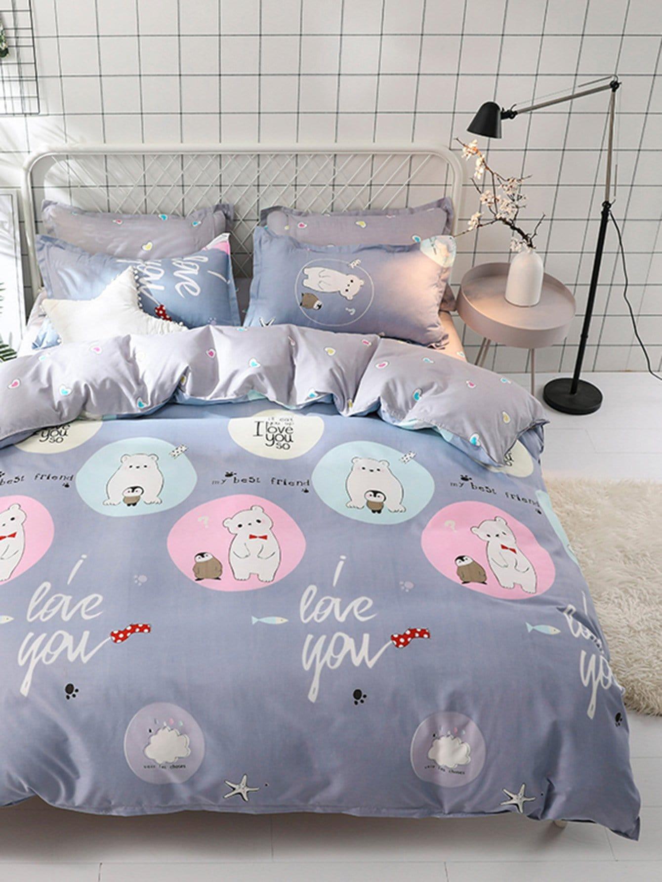 Купить Комплект постельного белья мишка и надпись, null, SheIn