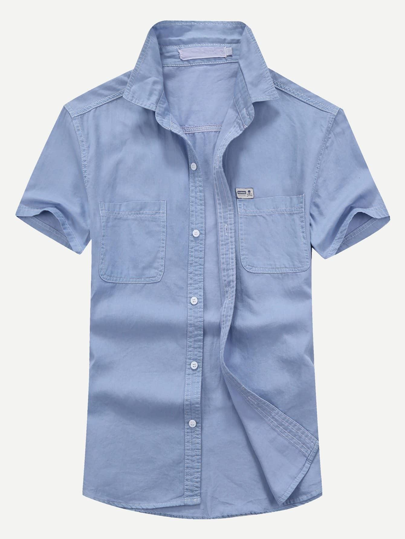 Men Plain Denim Blouse men double button plain blouse