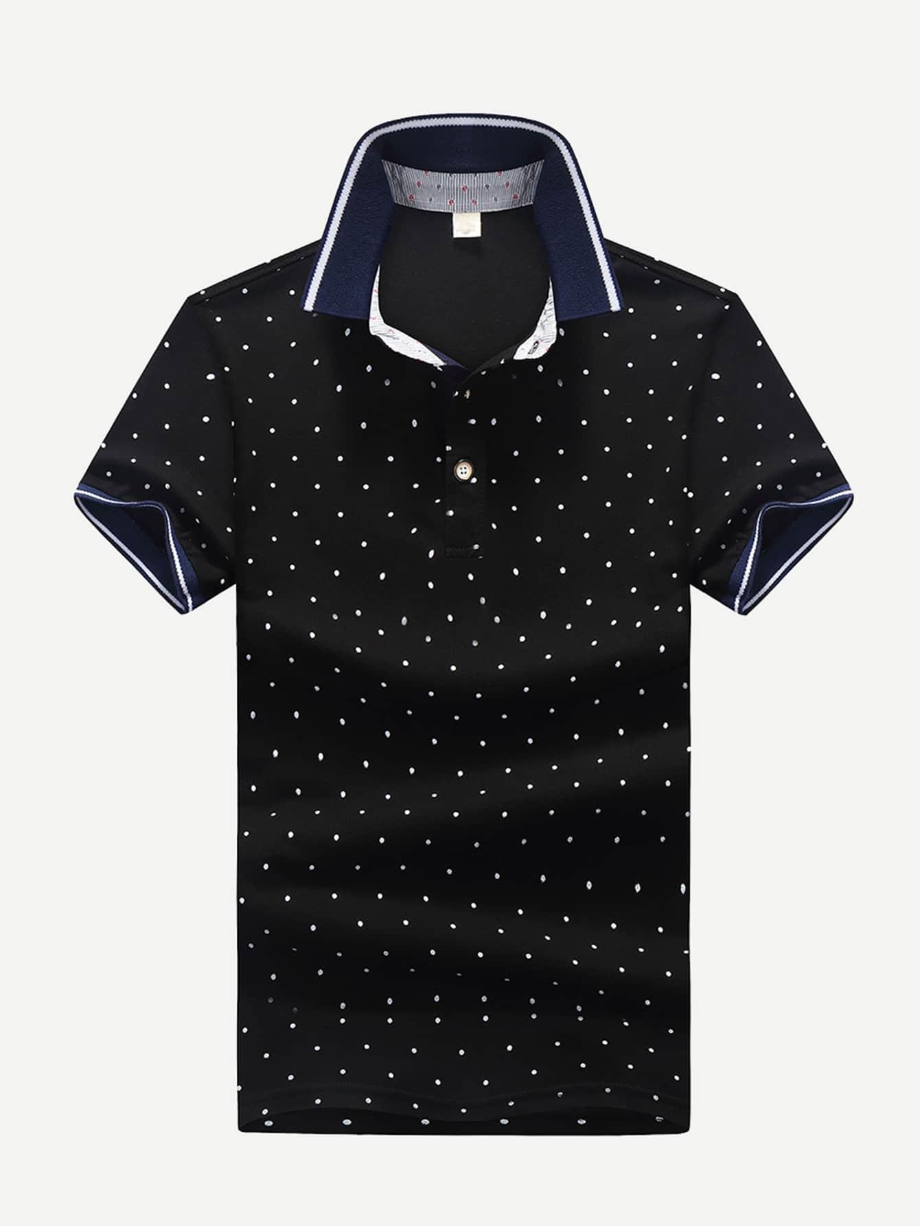 Men Polka Dot Ringer Polo Shirt men polka dot ringer polo shirt