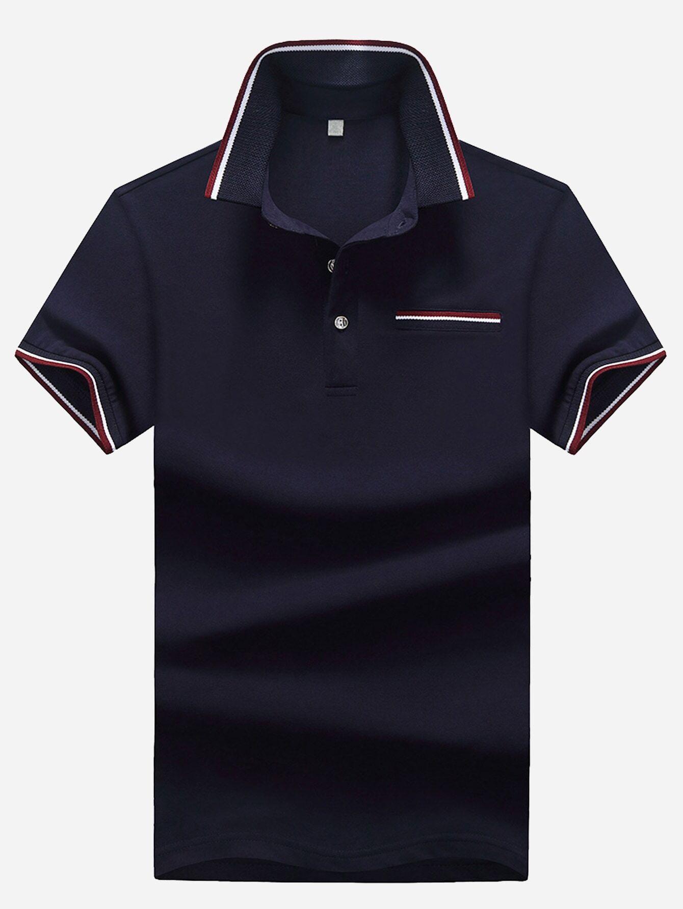 Men Cut And Sew Panel Ringer Polo Shirt men polka dot ringer polo shirt