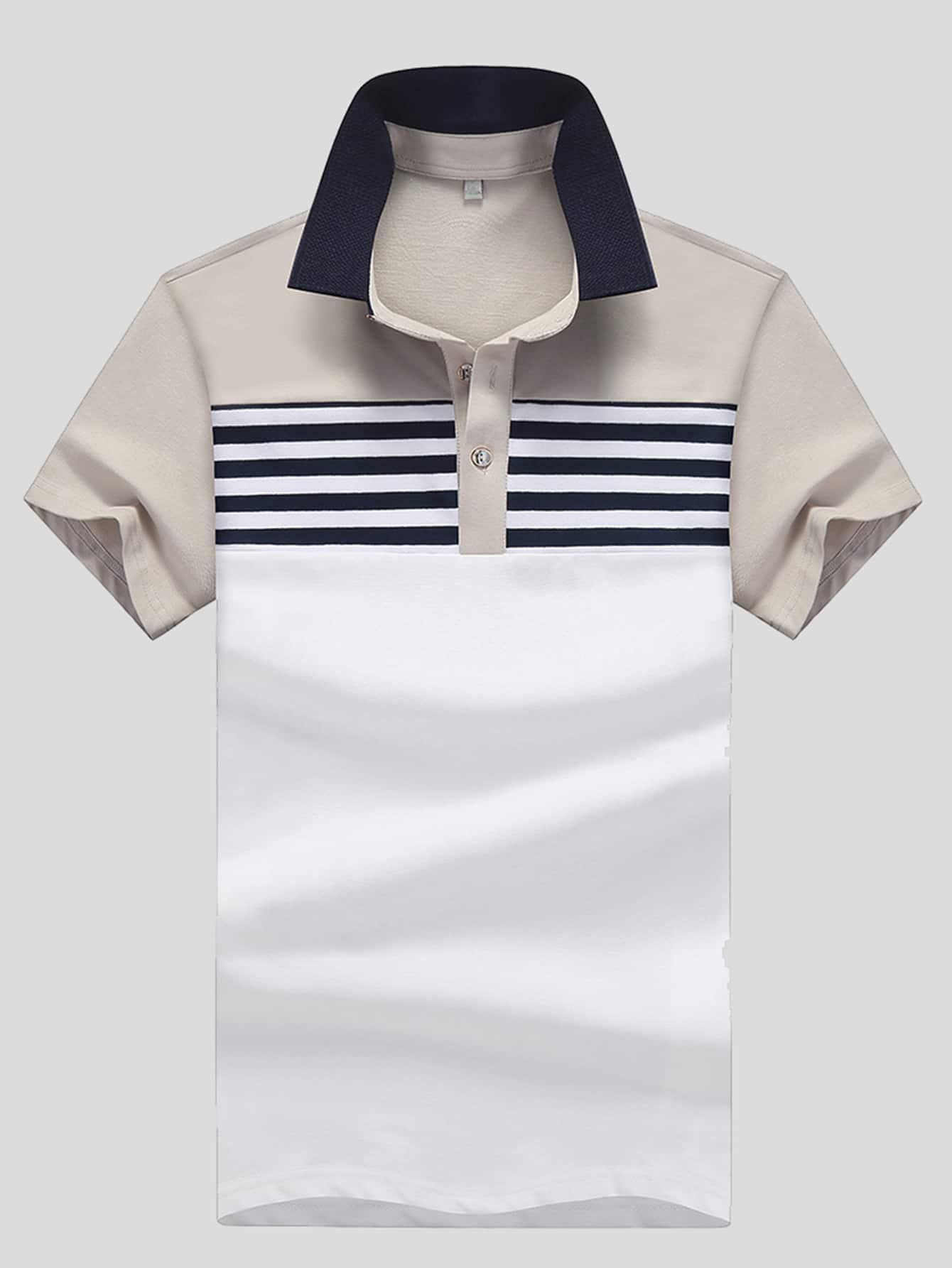 Купить Рубашка поло с полосками контрастная для мужчин, null, SheIn