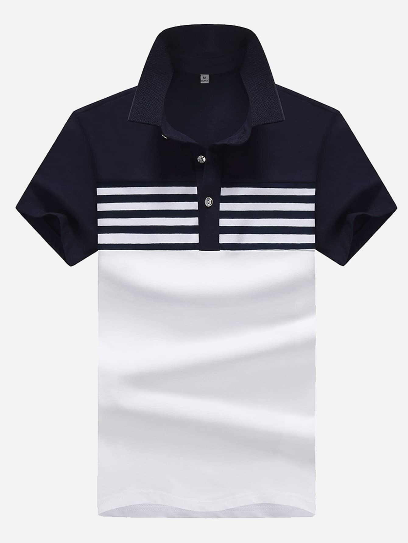 Men Contrast Neck Striped Polo Shirt men striped neck polo shirt