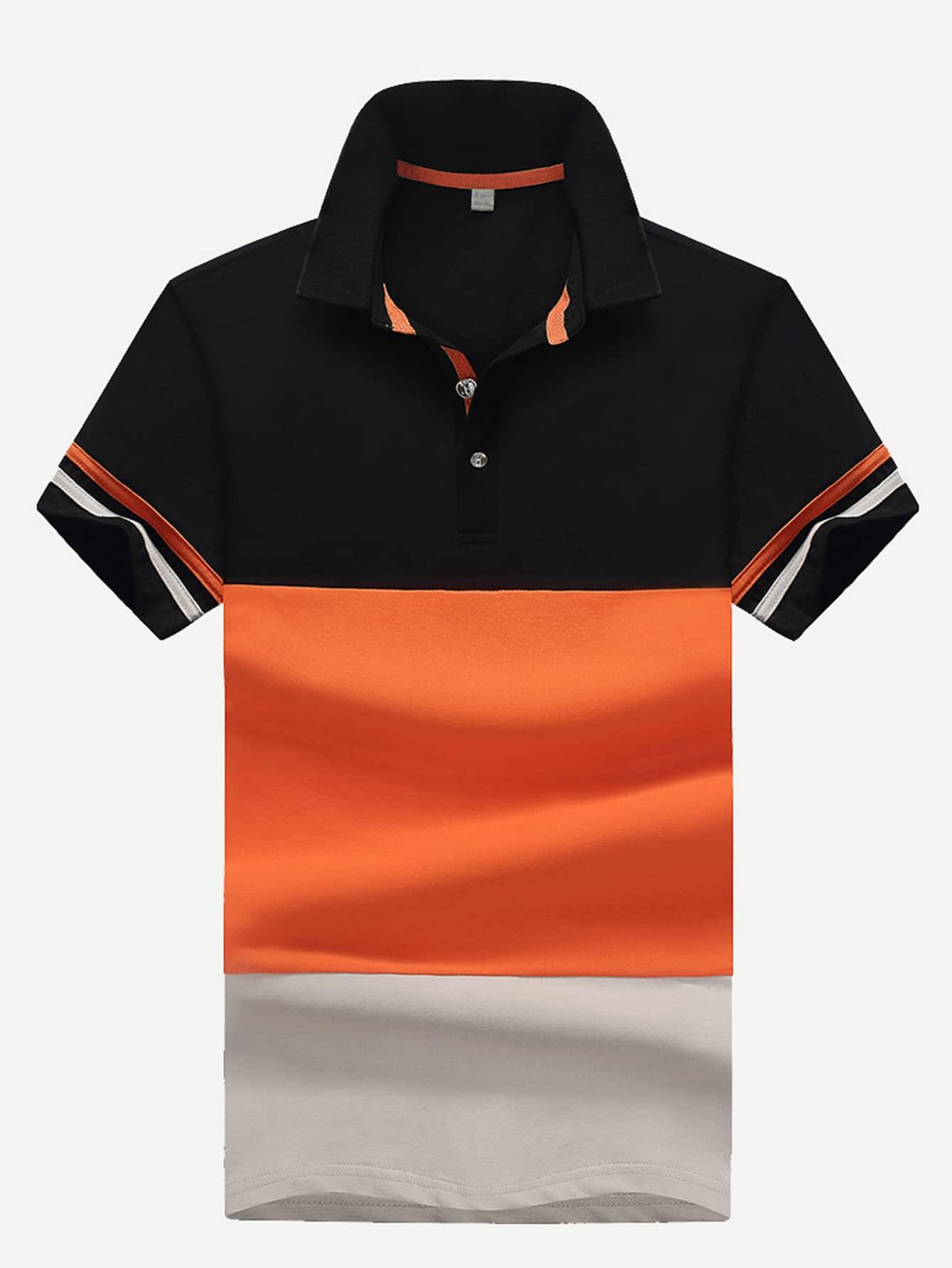 Men Contrast Panel Varsity Striped Polo Shirt men striped neck polo shirt