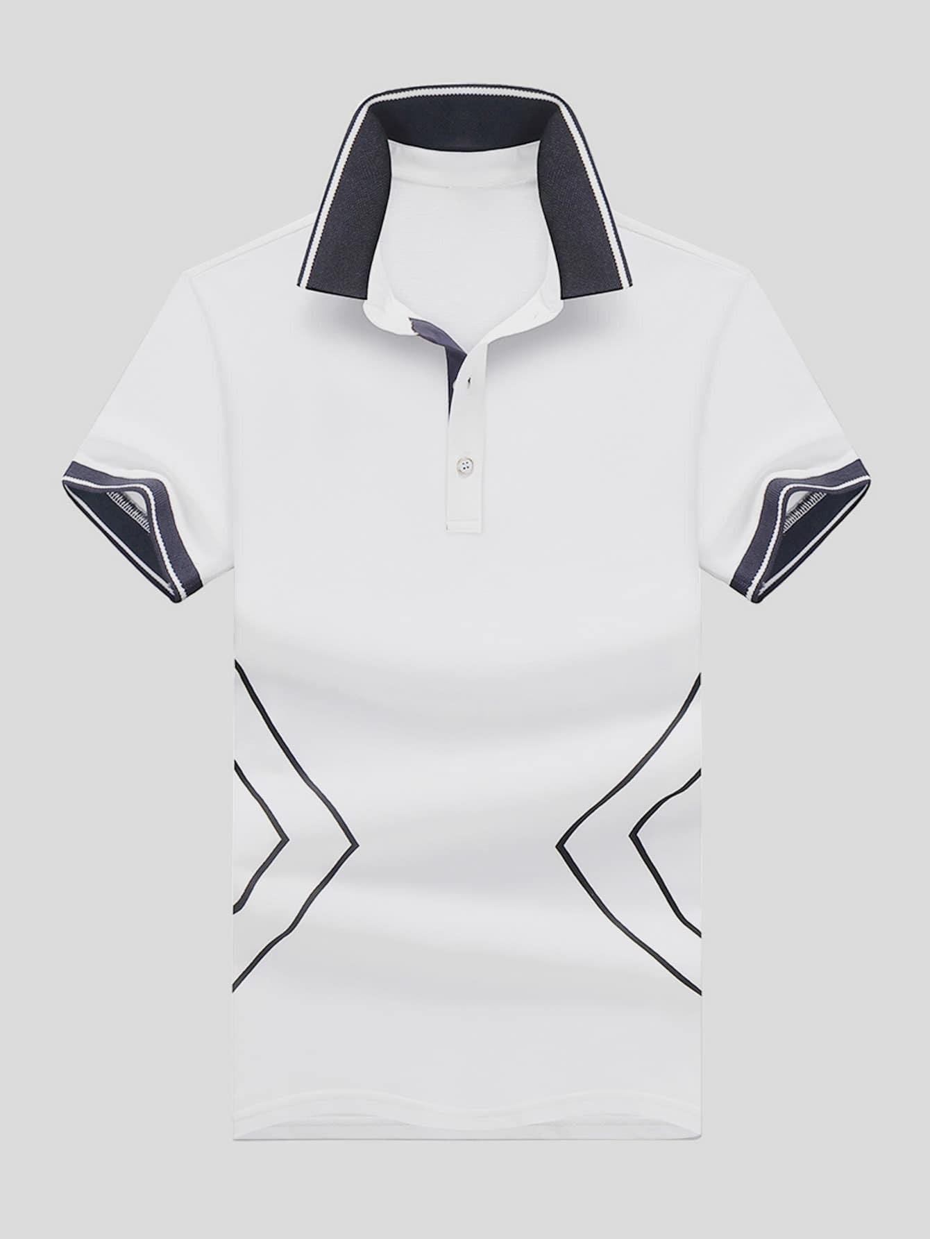 Men Geo Print Ringer Polo Shirt men polka dot ringer polo shirt