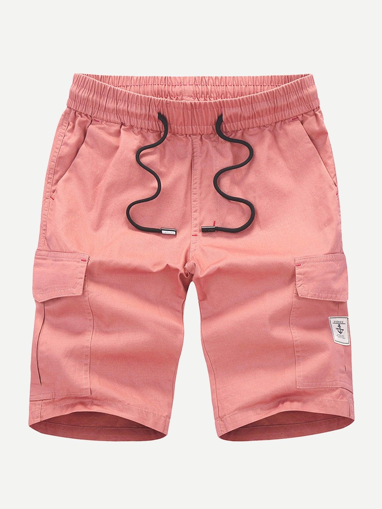 Men Pocket Decoration Plain Drawstring Shorts