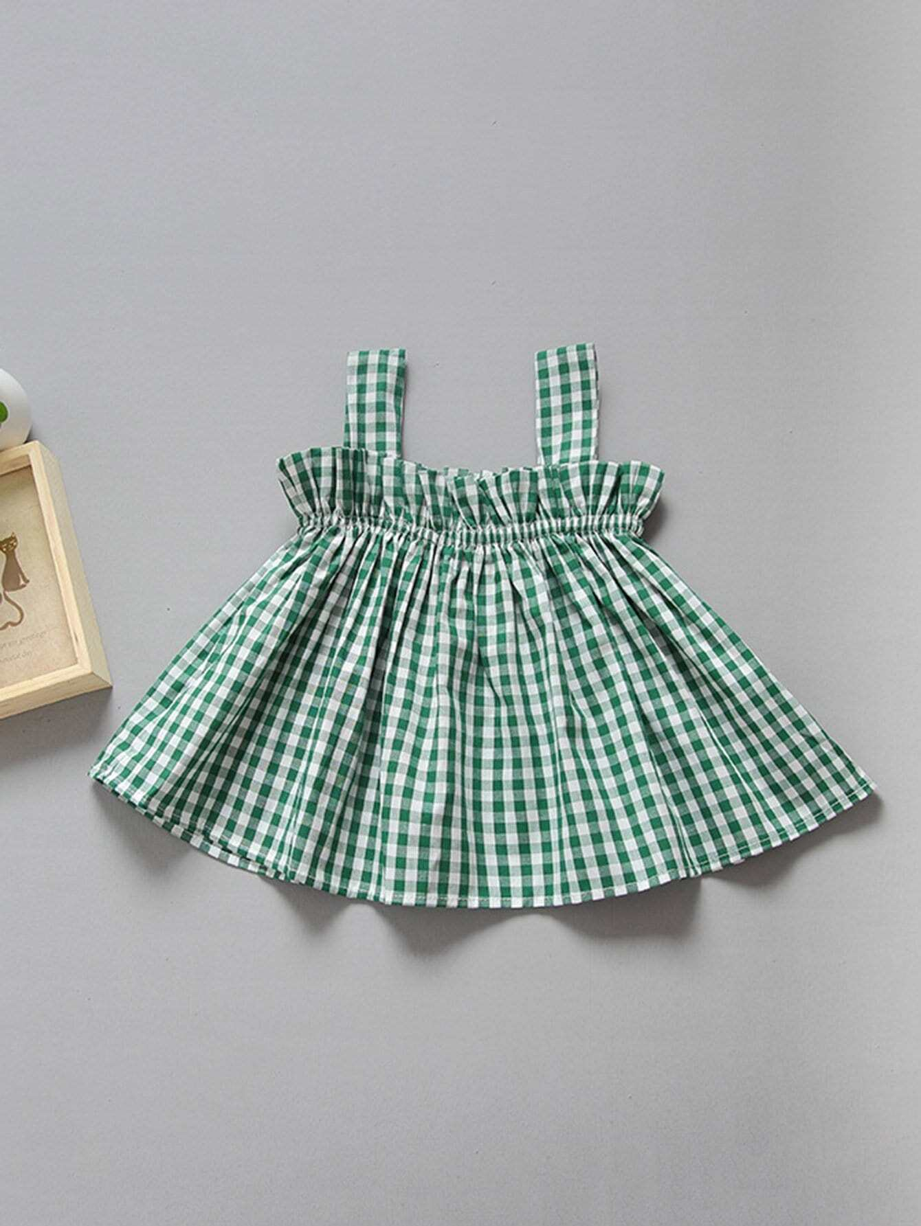 Girls Pleated Gingham Cami Top