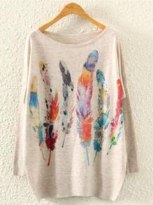 Feather Print Marled Knit Jumper