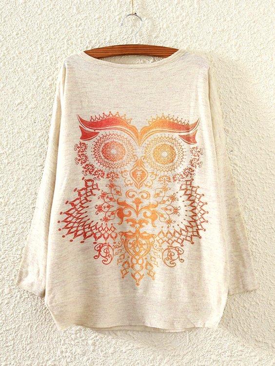 Owl Print Drop Shoulder Sweater cartoon print drop shoulder sweater