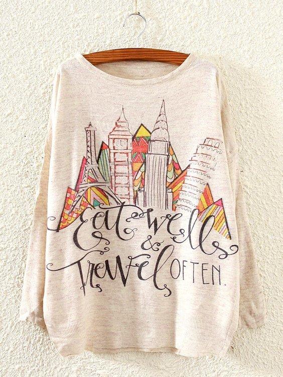 Castle Print Drop Shoulder Sweater cartoon print drop shoulder sweater
