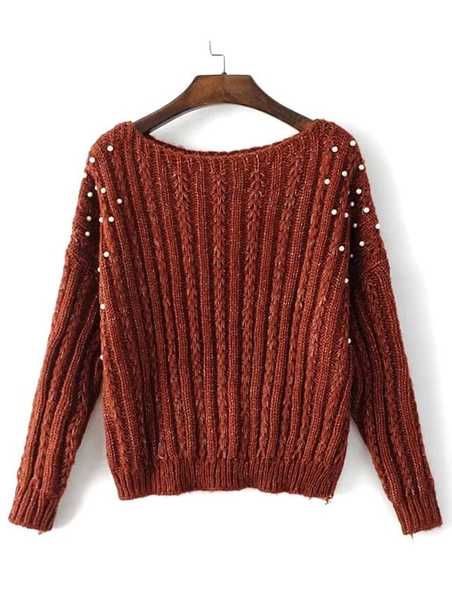 Pearls Beaded Cable Knit Jumper pearls beaded detail knit tee