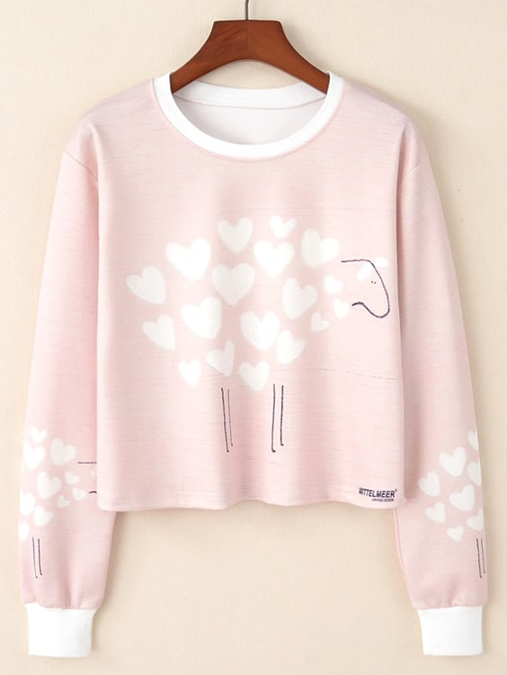 Love Print Crop Pullover letter print crop pullover