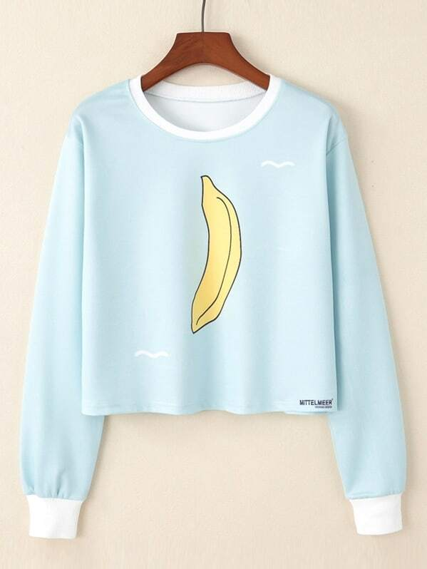 Banana Print Crop Pullover letter print crop pullover