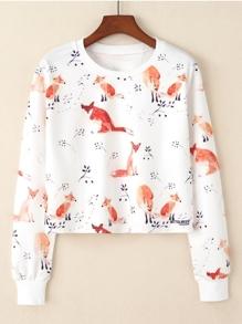 Fox Print Crop Pullover