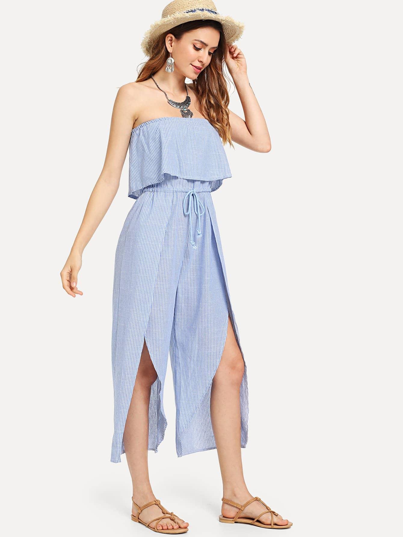 Drawstring Waist Tiered Tube Dress drawstring waist m slit tube dress
