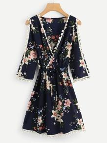 V-Neckline Floral Print Dress
