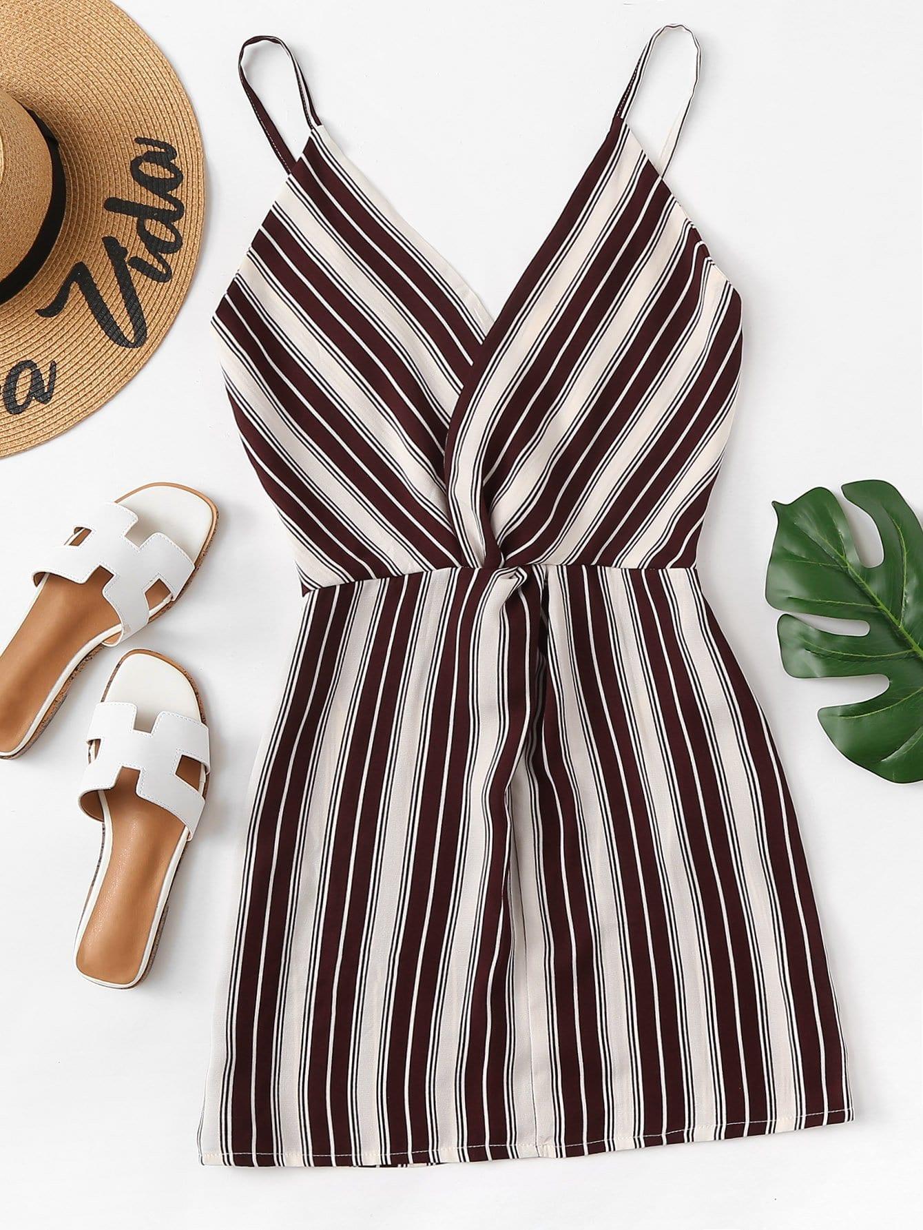 Vertical Striped Cami Dress