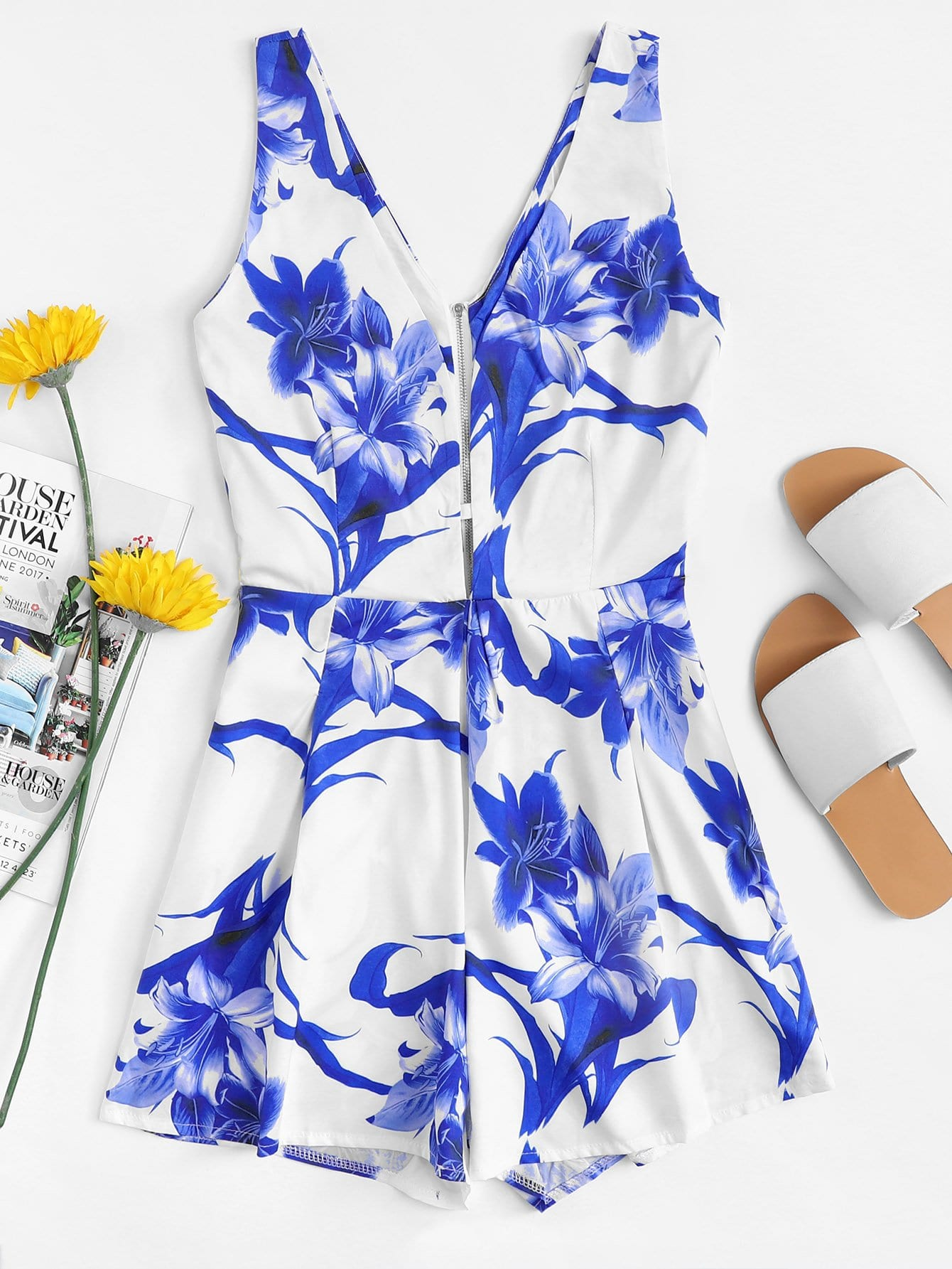 Floral Print Zipper Detail Romper