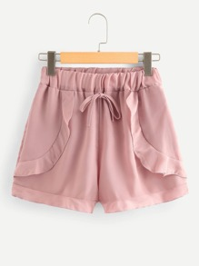 Solid Frill Trim Drawstring Waist Shorts