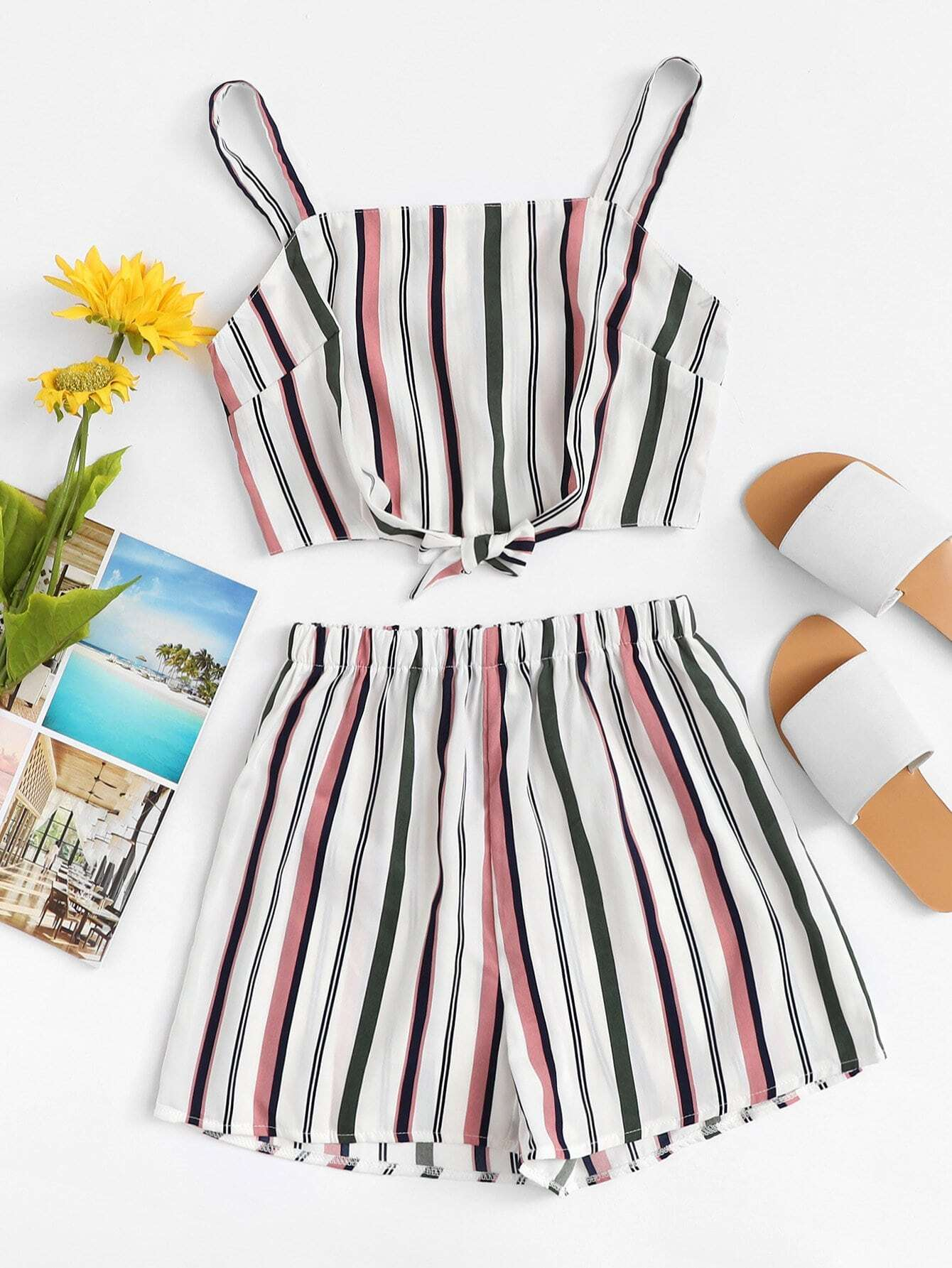 Knot Back Striped Cami Top With Shorts