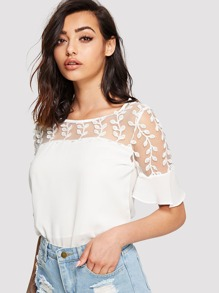 Leaf Embroidered Mesh Contrast Chiffon Top
