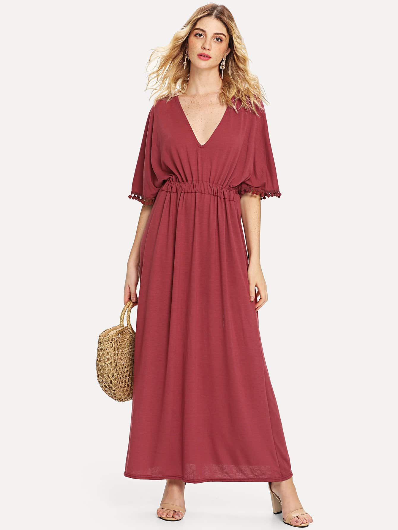 Pom Pom Detail Longline Dress pom pom detail cami and shorts set