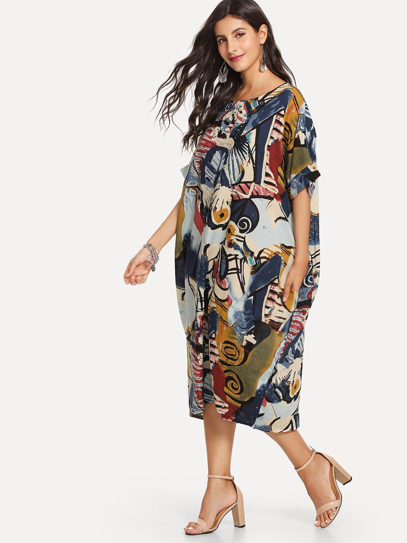 Batwing Sleeve Graphic Print Dress