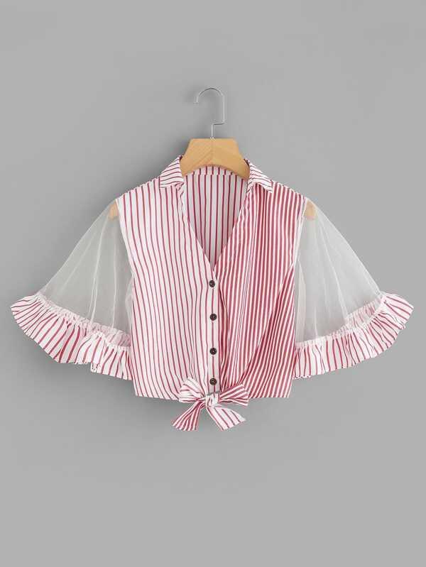 Sheer Mesh Sleeve Striped Crop Top by Sheinside