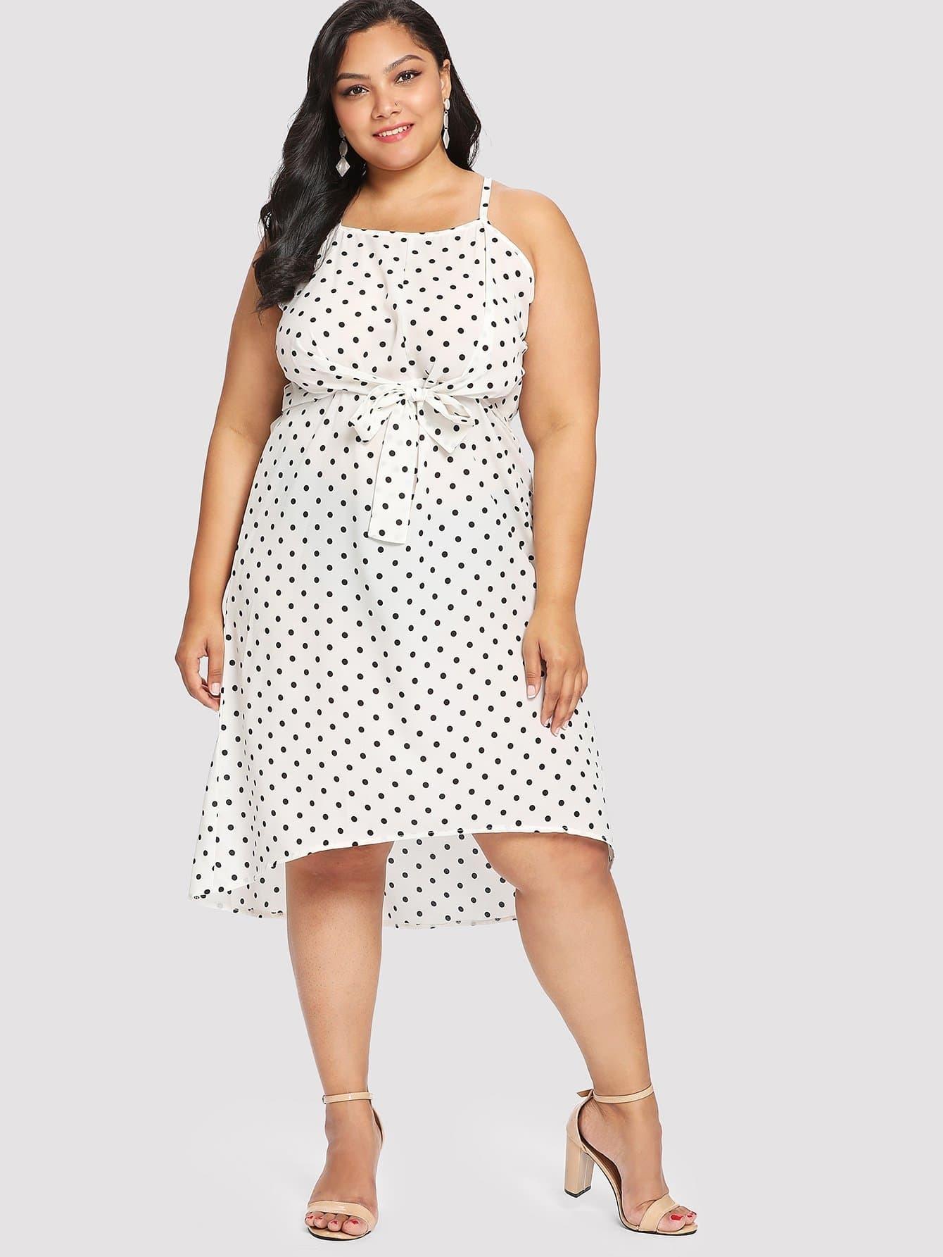 Plus Polka Dot Tie Front Dip Hem Dress
