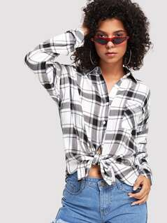 Pocket Patched Plaid Shirt