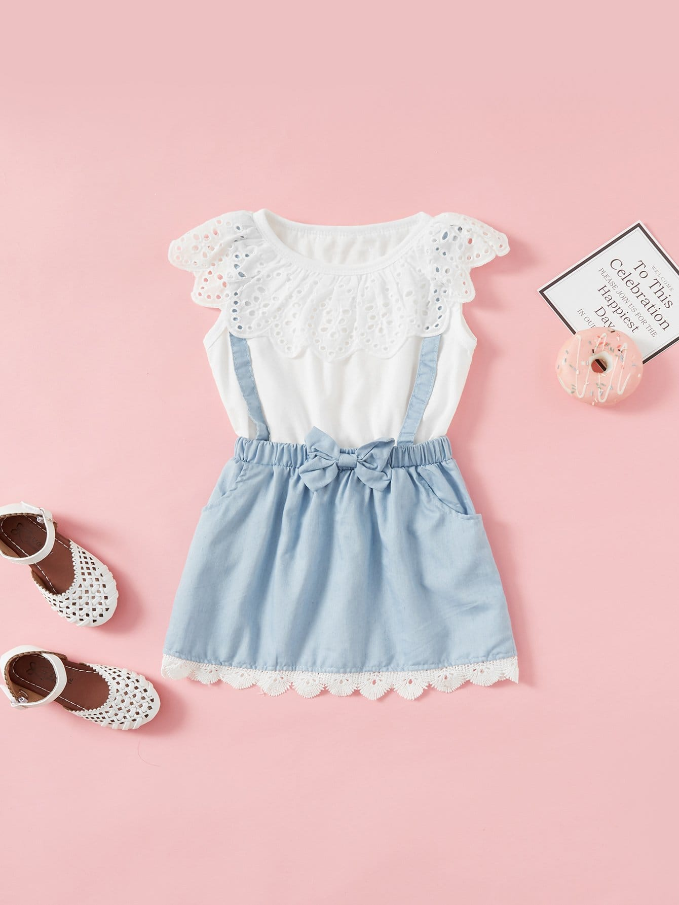 Girls Eyelet Embroidered Ruffle 2 In 1 Dress