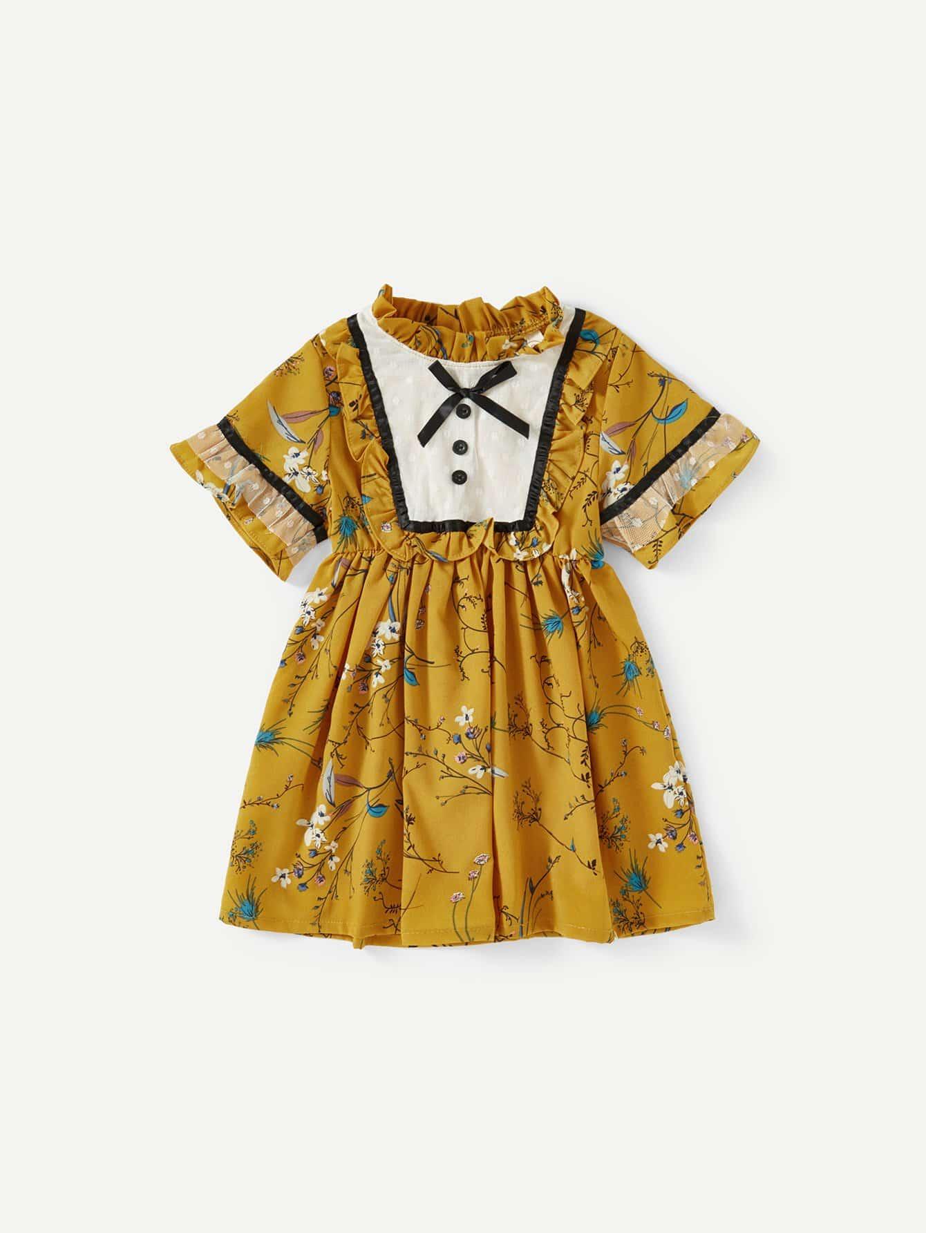 Girls Contrast Mesh Frill Trim Calico Print Dress цена