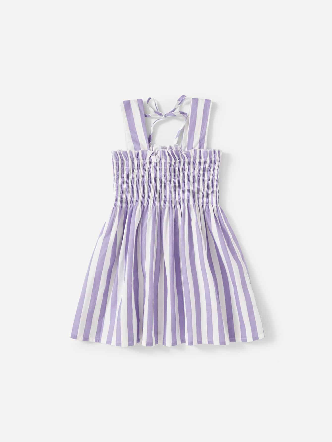 Girls Frill Trim Striped Shirred Dress 1pair iron shoe rack flip frame 3 layers option black color hidden hinge