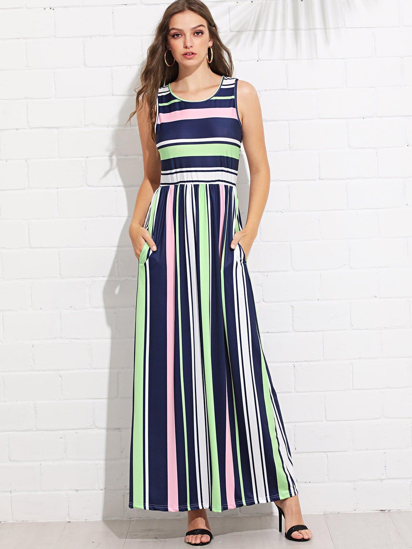 Hidden Pocket Striped Dress hidden pocket striped dress