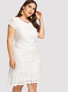 Cap Sleeve Floral Lace Dress