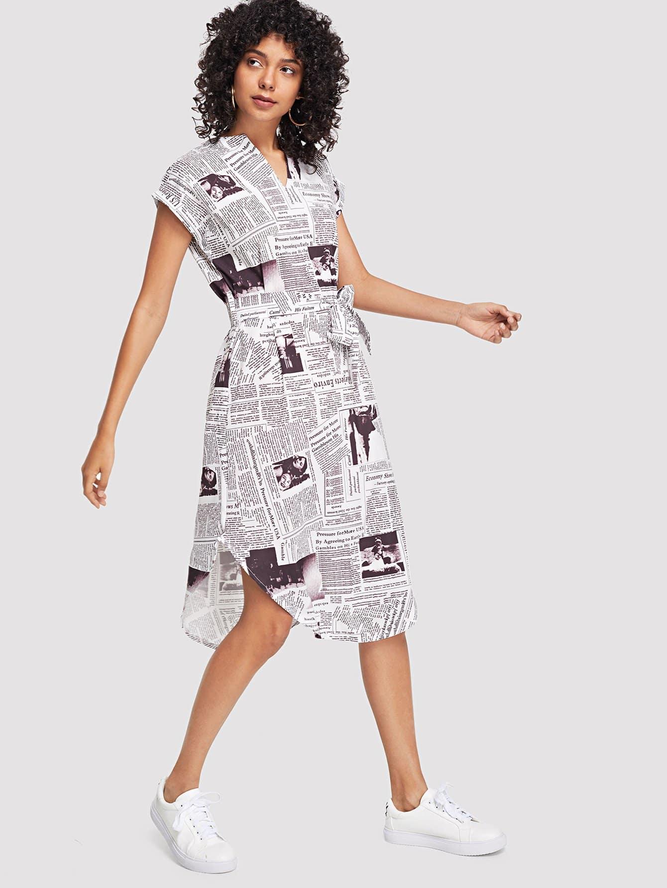 Slit Side Curved Hem Tie Waist Dress rolled sleeve slit side curved hem self tie dress