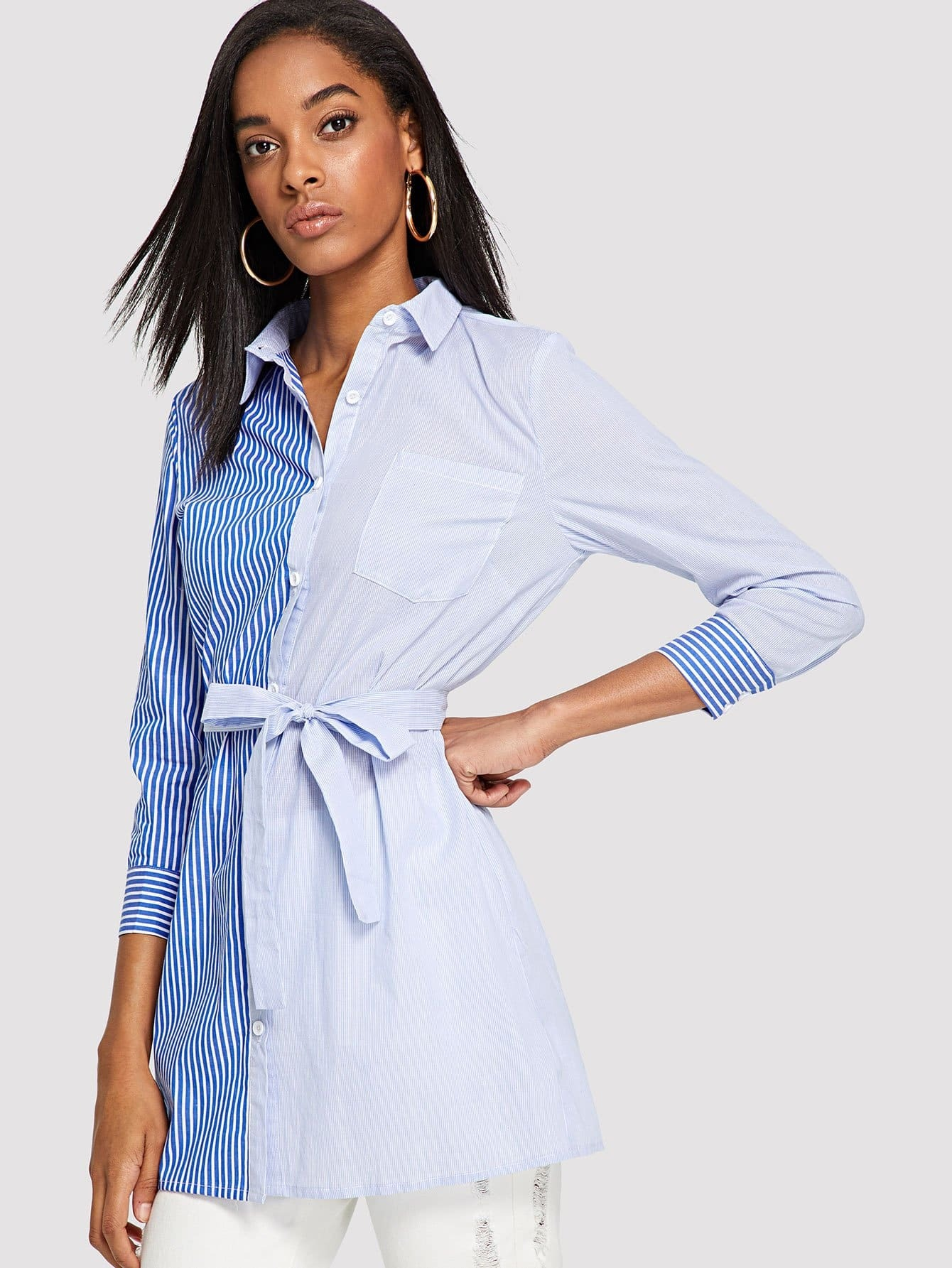 Pocket Front Cut and Sew Shirt Dress pocket front shirt dress