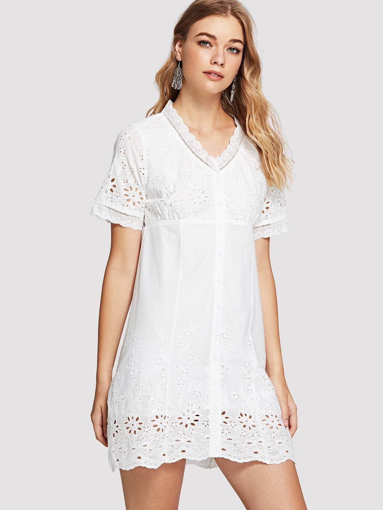 Laddering Lace Detail Eyelet Embroidered Button Up Dress lace up detail jeans