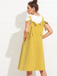 Dual Pocket Knot Back Dress