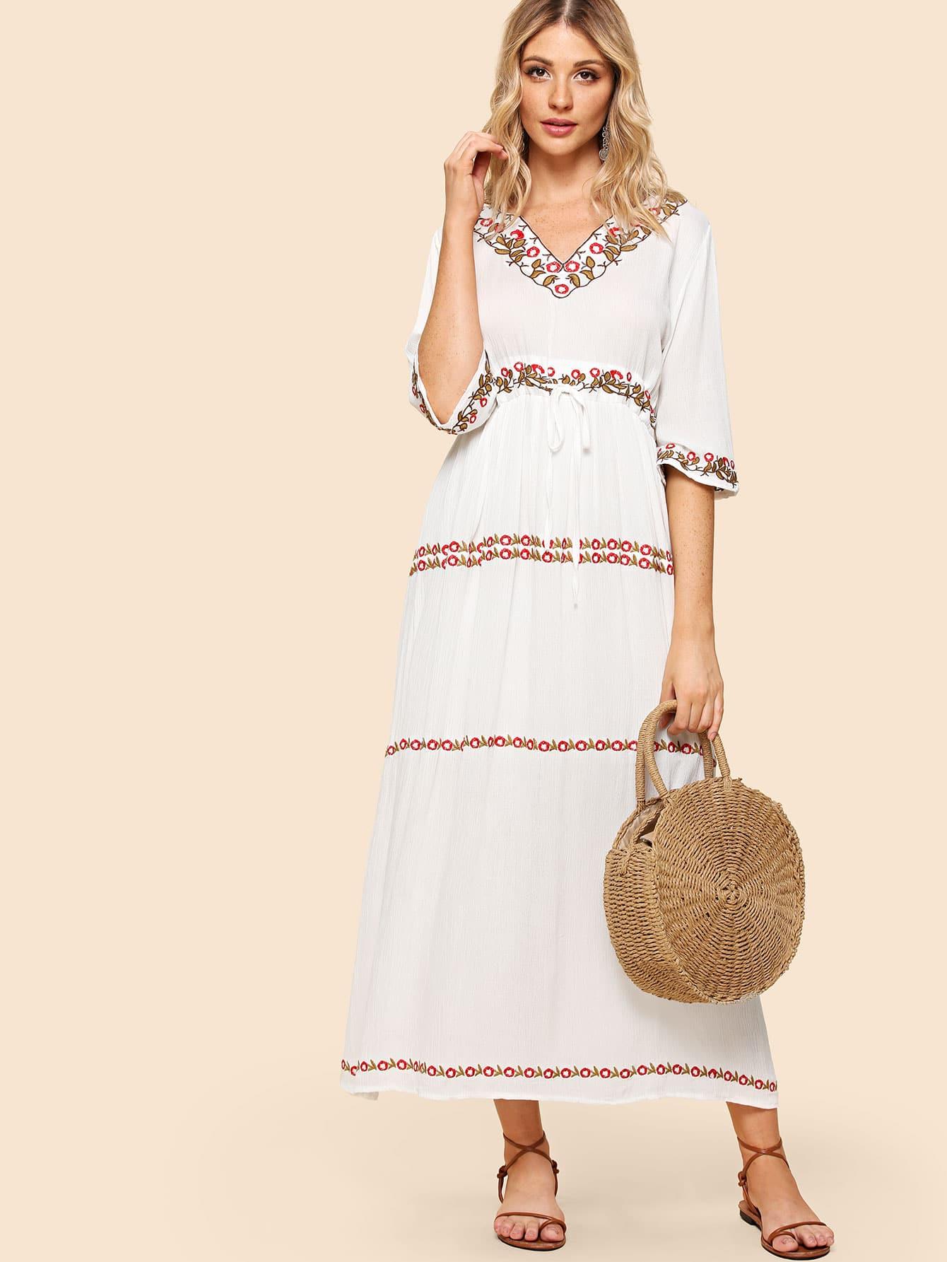 Drawstring Waist Embroidered Dress drawstring waist tank dress
