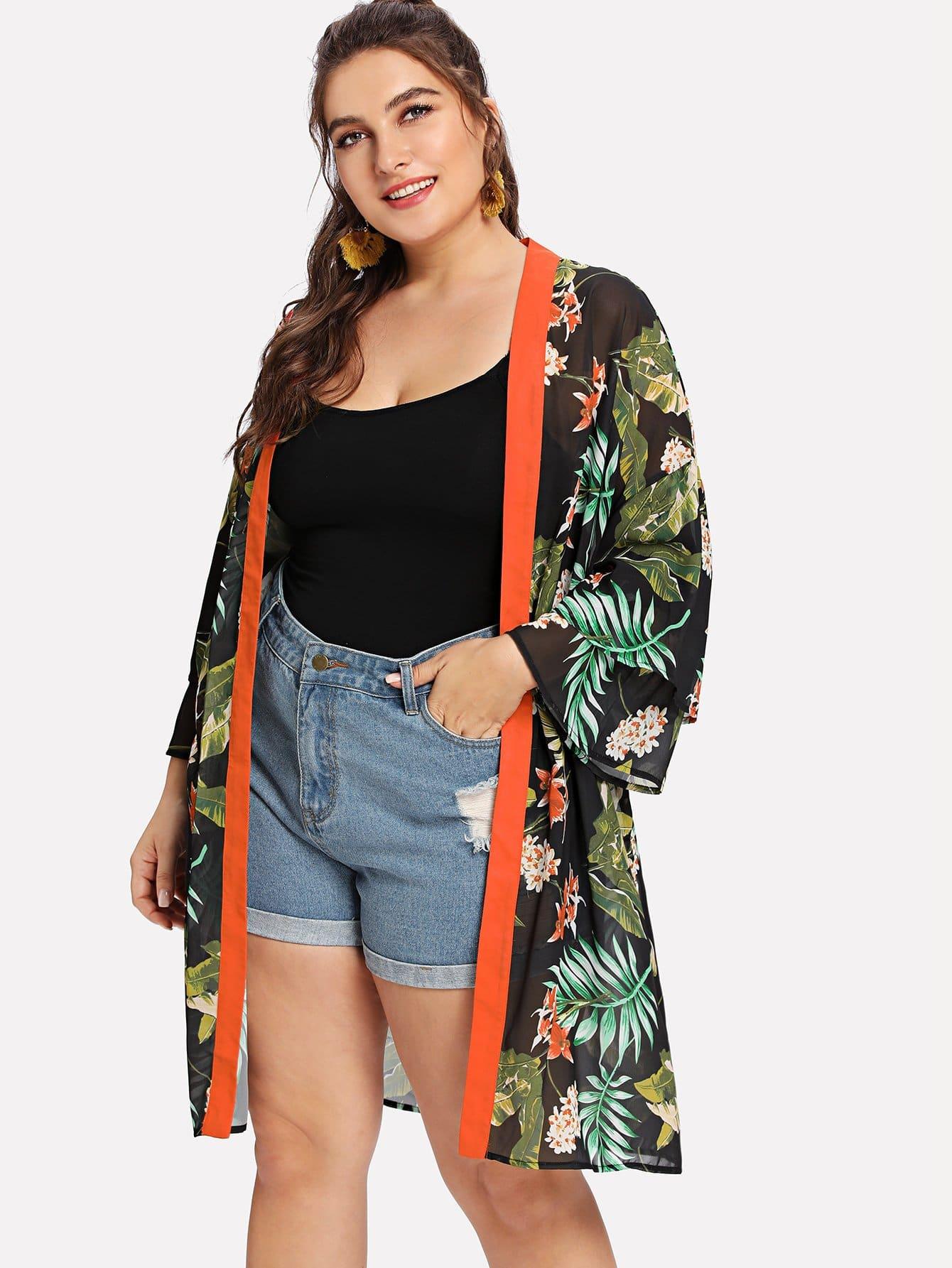 Купить Кимоно с принтом тропики с широкими рукавами, Franziska, SheIn