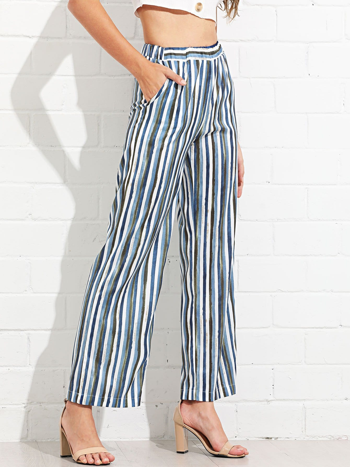 Elastic Waist Striped Palazzo Pants kids elastic waist striped pants